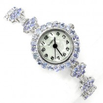 natural gems violet tanzanite & white topaz 925 sterling silver flower design womens wrist watch