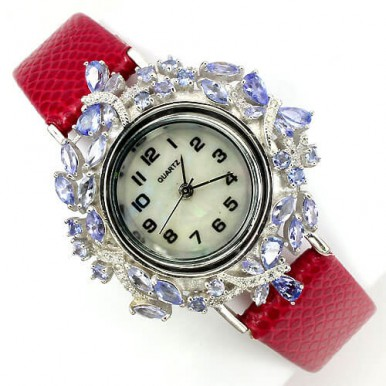 gracious natural tanzanite 925 silver with leather band luxury womens watch