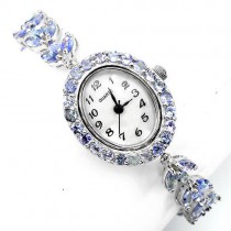precious natural blue violet tanzanite 925 sterling silver womens watch