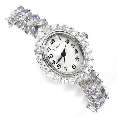 really authentic blue tanzanite & white topaz sterling silver and 14k gold luxury womens watch