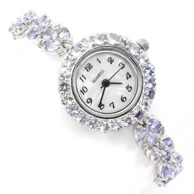 sumptuous jewelry ladies sterling silver watch with genuine tanzanite &  mother of pearl