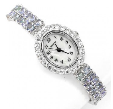 genuine blue tanzanite & white topaz 925 sterling silver 14k white gold jewelry women watch