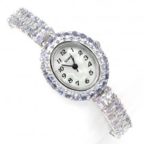precious rare natural tanzanite & mother of pearl 925 sterling silver jewelry ladies' wrist watch