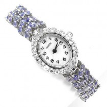 very rare natural blue violet tanzanite & white topaz sterling silver ladies' watch