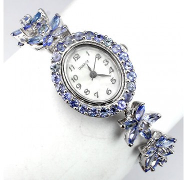 natural jewels blue violet tanzanite 14k white gold 925 sterling silver flower womens wrist watch