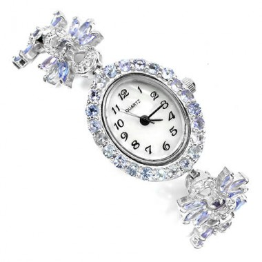 Admirable Women's Sterling Silver Bracelet Watch with Tanzanite & Topaz