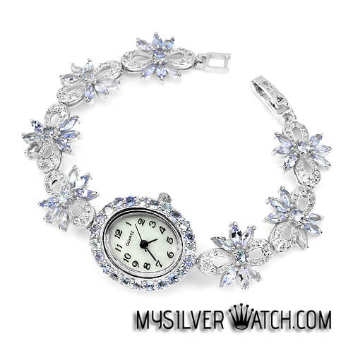 Admirable Women S Sterling Silver Bracelet Watch With Tanzanite Topaz