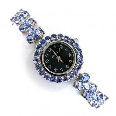 Delightful Violet-Blue Natural Tanzanite Sterling Silver Womens' Watches