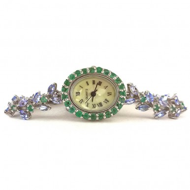 Cute Ladies' Sterling Silver Wristwatch with Natural Tanzanite & Emerald