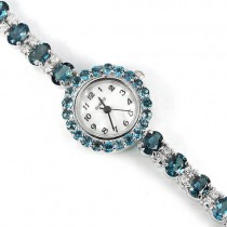 genuine london blue topaz & CZ 14k white gold over sterling silver ladies' watch