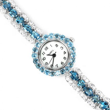 Admirable Sterling Silver Wrist Watch for Women with London Blue Topaz & CZ