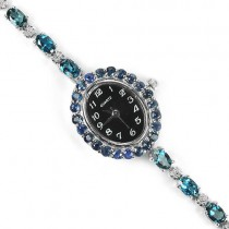 sterling silver jewery wrist watch for women with genuine london topaz & sapphire
