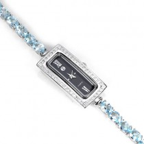 Stylish Luxury Women's Watch with Genuine Sky Blue Topaz Bracelet