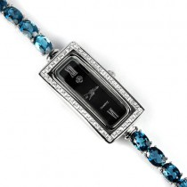 Stylish Jewellery Silver Ladies Watch With Genuine London Blue Topaz & CZ