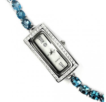 Stylish Jewellery 925 Silver Ladies Watch With Genuine London Blue Topaz