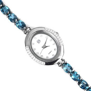 Stylish Sterling Silver Jewellery Wrist Watch for Ladies with London Blue Topaz