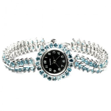 Dazzling Natural London Blue Topaz Sterling Silver Watch for Women