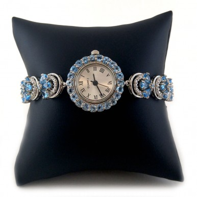 Engaging Silver Ladies' Wrist Watch with Swiss Blue Topaz Stones