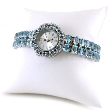 Sky Blue Topaz Solid Silver Watch for Ladies Universal Length