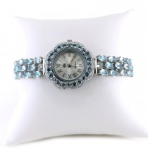 Natural Blue Topaz 925 Silver Ladies' Watch Adjustable Bracelet Length