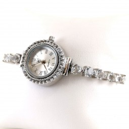 White Topaz Natural Colorless Stones Heart Shape Women's Silver Watch