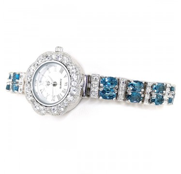 London Blue Topaz & White Topaz Natural Stones Sterling Silver Watch
