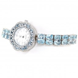 Sky Blue Topaz Sterling Silver Ladies' Watch with Adjustable Bracelet