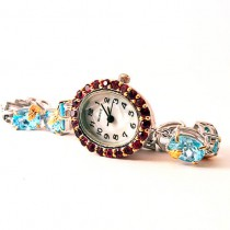 Cute Sterling Silver Bracelet Watch for Lady, Blue Topaz & Rhodolite Garnet