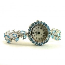 Nice Sterling Silver Women's Wristwatch with Genuine Baby Blue Topaz