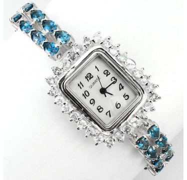 mesmerizing natural shining london blue topaz sterling silver women's watch