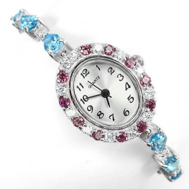 really authentic swiss blue topaz, rhodolite garnet & CZ sterling silver luxury womens watch