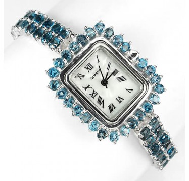 exclusive natural top rich london blue topaz 925 silver ladies watch