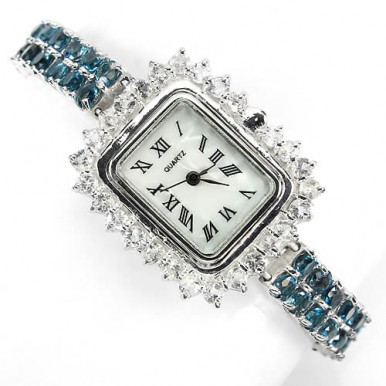 rare natural london blue & white topaz sterling silver and 14k white gold luxury womens watch