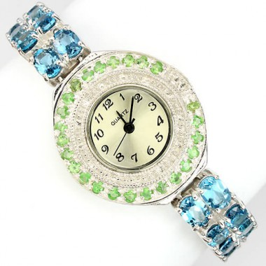 attractive real london blue topaz & tsavorite garnet sterling silver 14k gold luxury womens watch