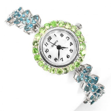 elegant sterling silver womens wrist watch with natural blue topaz & tsavorite garnet