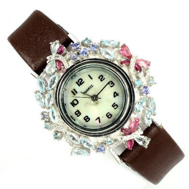 genuine sky blue topaz,garnet,tanzanite & tourmaline 925 silver leather womens watch
