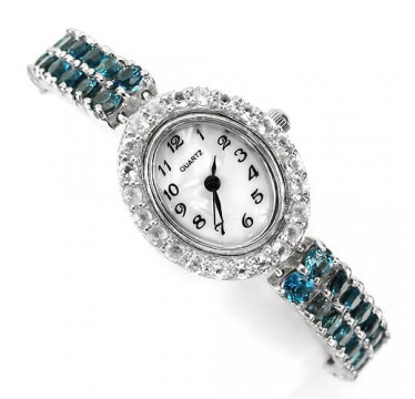 beautiful authentic london blue topaz & white topaz silver womens watch