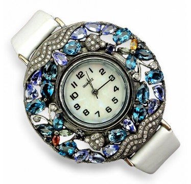 Authentic london blue topaz, tanzanite & sapphire gems 925 silver leather womens watch