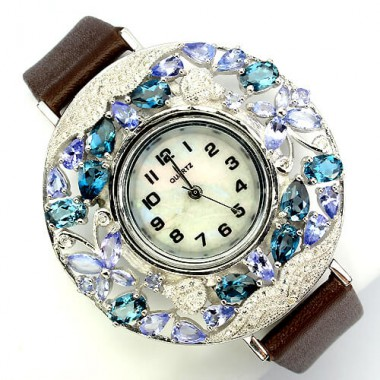 natural jewels london blue topaz, tanzanite & CZ 925 silver womens watch with leather band