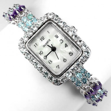 amazing beautiful silver jewellery ladies watch with natural blue & white topaz and amethyst
