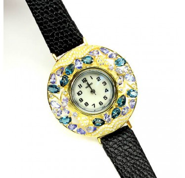 Authentic London Blue Topaz, Tanzanite & CZ Leather Jewelry Watch for Women