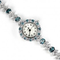 natural jewels london blue topaz & CZ 925 sterling silver wrist watch for women