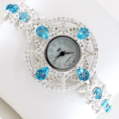 Magnificent 925 Sterling Silver Women's Watch with Swiss Blue Topaz