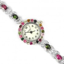 Natural Multi Color Tourmaline & CZ Stones Really 925 Sterling Silver Womens Wrist Watch