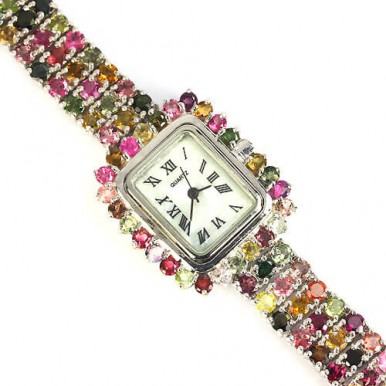 Multi color authentic tourmaline, mother of pearl, 925 sterling silver wrist watch for lady