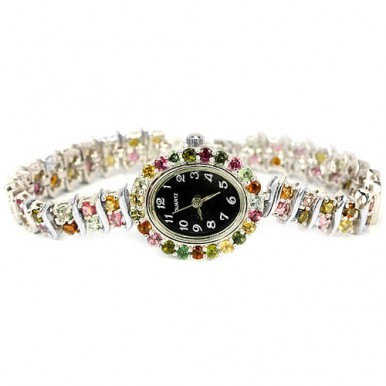 Bracelet Sterling Silver Women's Watch with Natural Multi Color Tourmaline