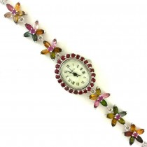 Nice Sterling Silver Watch for Women with Natural Tourmaline & Garnet