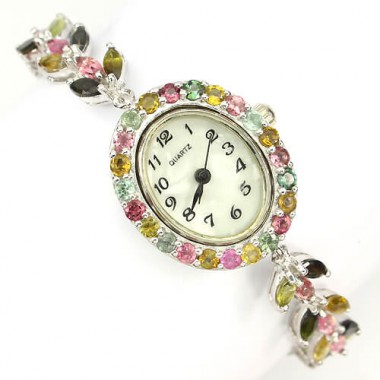 precious natural jewels top fancy colors tourmaline sterling silver wrist watch for ladies