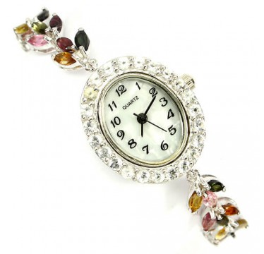 mesmerizing natural fancy colors tourmaline & white topaz sterling silver womens luxury watch