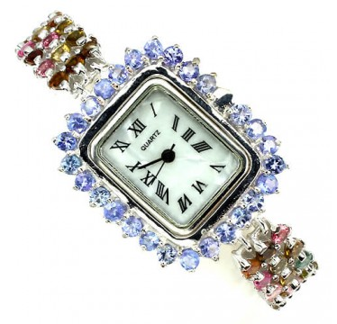 Natural fancy colors tourmaline & tanzanite gems 925 sterling silver womens watch